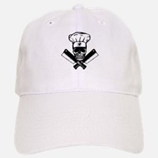 Chef Skull--B&W-- Baseball Baseball Cap