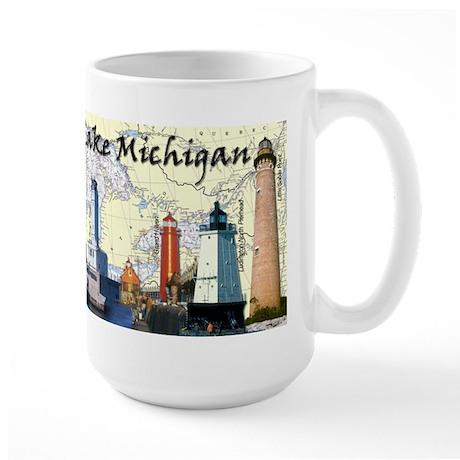 Lighthouses Of Lake Michigan Large Mug Mugs