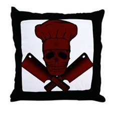 Chef Skull--dark red-- Throw Pillow