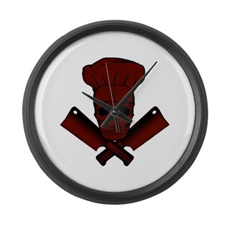 Chef Skull--dark red-- Large Wall Clock