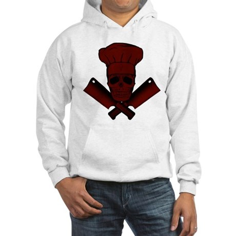 Chef Skull--dark red-- Hooded Sweatshirt