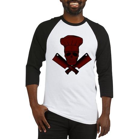 Chef Skull--dark red-- Baseball Jersey