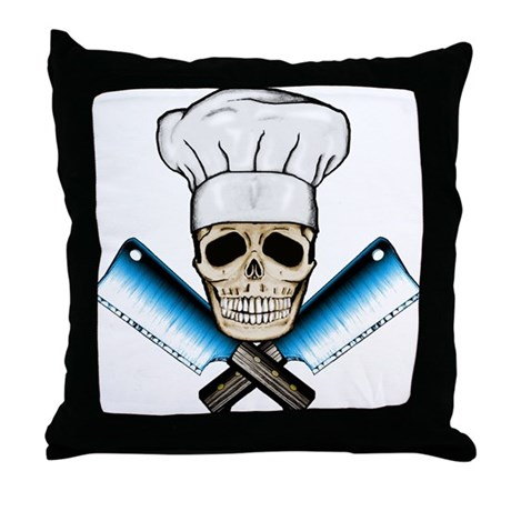Chef Skull--Color 1-- Throw Pillow