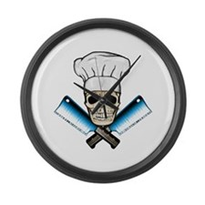 Chef Skull--Color 1-- Large Wall Clock