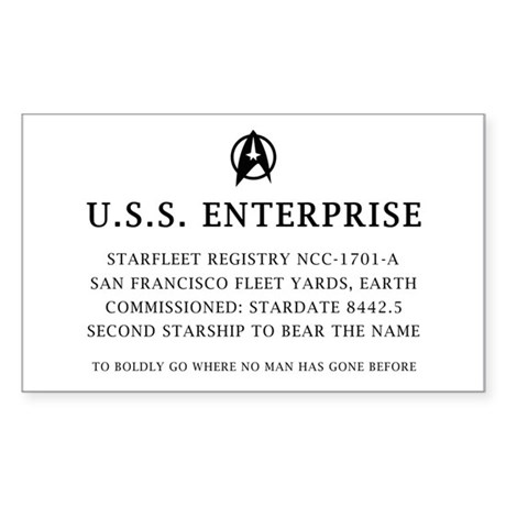 U.S.S. Enterprise Plaque Sticker (Rectangle)