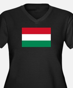 Hungary flag Women's Plus Size V-Neck Dark T-Shirt
