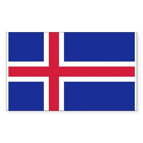 Iceland flag Sticker (Rectangle)