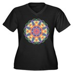 A Colorful S Women's Plus Size V-Neck Dark T-Shirt