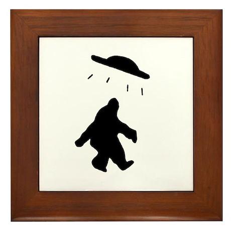 Bigfoot and UFO Framed Tile