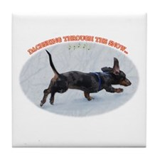 Holiday Dachshund Tile Coaster