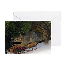 Sledding Squirrel Christmas Card