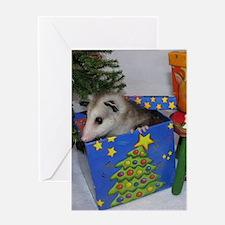 Christmas Card Opossum in Gift Box