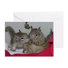 Christmas Card: Squirrels Kissing