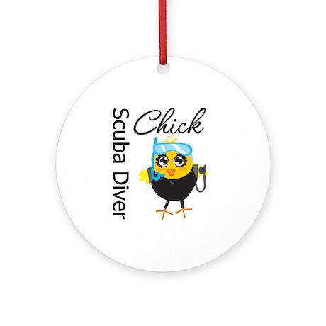 Scuba Diver Chick Ornament (Round)