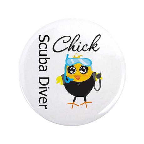 "Scuba Diver Chick 3.5"" Button"