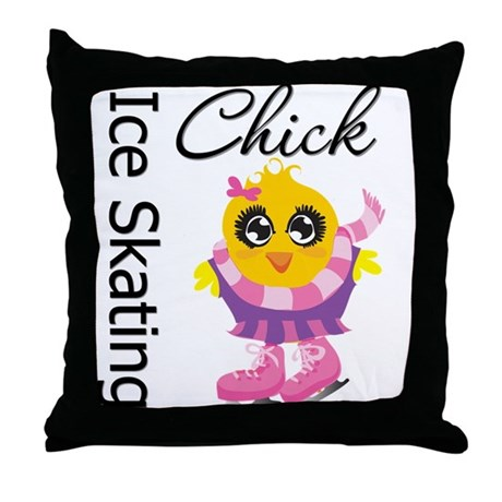 Ice Skating Chick Throw Pillow