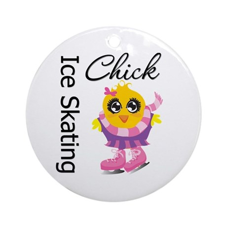 Ice Skating Chick Ornament (Round)