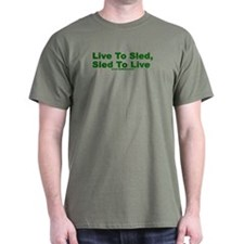 Daikers Live To Sled Military Green T-Shirt