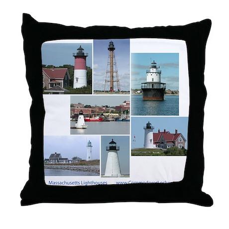 Massachusetts Lighthouses Throw Pillow