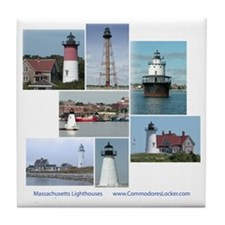 Massachusetts Lighthouses Tile Coaster