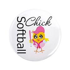 "Softball Chick 3.5"" Button"