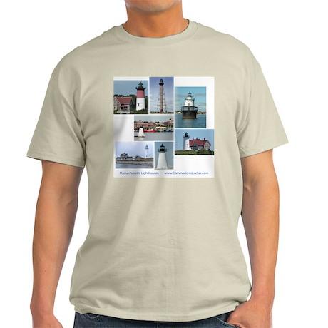 Massachusetts Lighthouses Ash Grey T-Shirt
