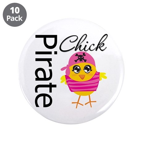 """Pirate Chick 3.5"""" Button (10 pack)"""