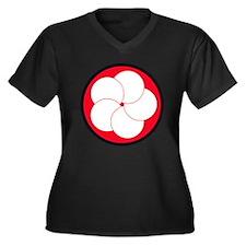 Unique Defence Women's Plus Size V-Neck Dark T-Shirt