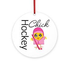 Hockey Chick Ornament (Round)