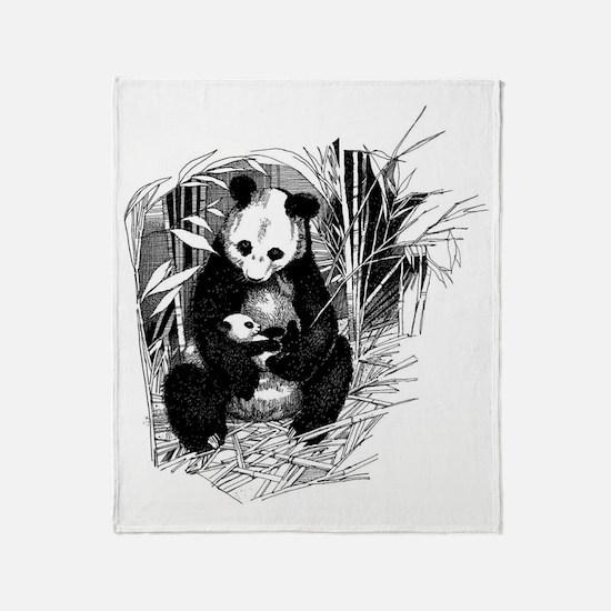 Panda and baby Throw Blanket