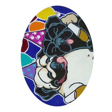 Pug Party Oval Ornament