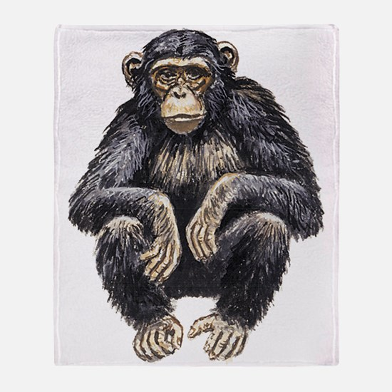 Chimpanzee drawing Throw Blanket