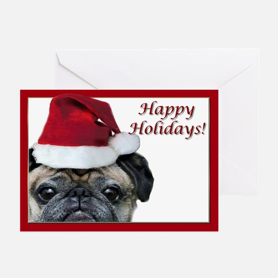 Happy Holidays Pug Greeting Cards (Pk of 20)
