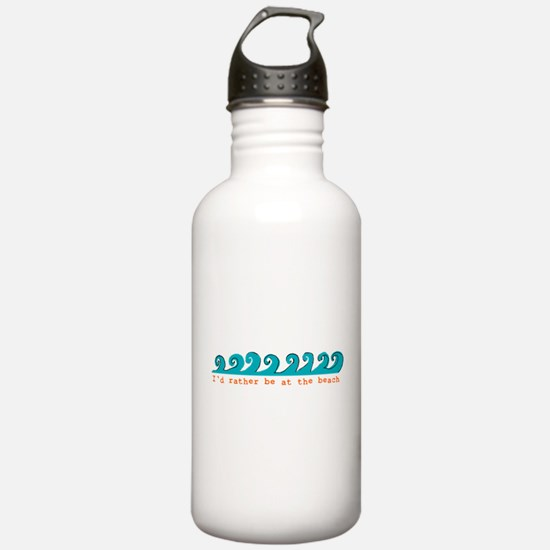 I'd rather be at the beach Water Bottle