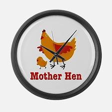 Mother Hen Chicken Large Wall Clock