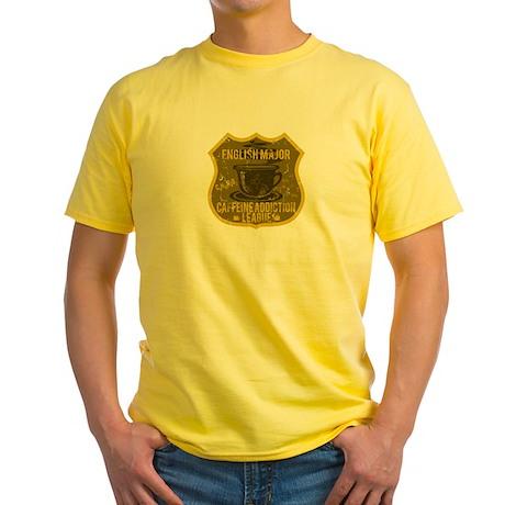 English Major Caffeine Addiction Yellow T-Shirt