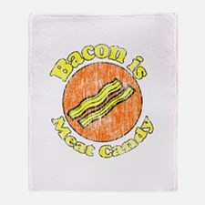Vintage Bacon is Meat Candy Throw Blanket