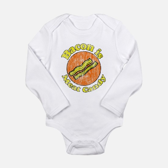 Vintage Bacon is Meat Candy Long Sleeve Infant Bod