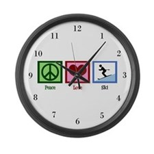 Peace Love Ski Large Wall Clock