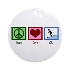 Peace Love Ski Ornament (Round)