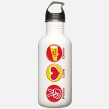 Peace Love Cheer Red Yel Water Bottle