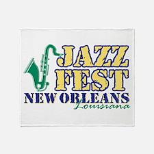 Jazz Fest NOLA sax Throw Blanket
