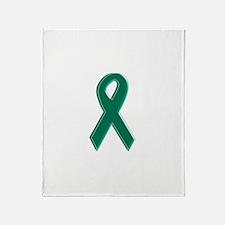 Green Awareness Ribbon Throw Blanket