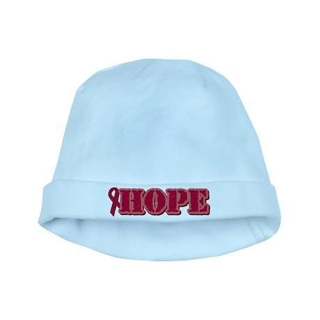 Burgundy Hope Ribbon baby hat