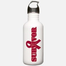 Burgundy Ribbon Survivor Water Bottle