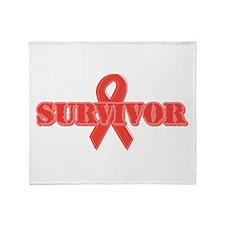 Red Ribbon Survivor Throw Blanket
