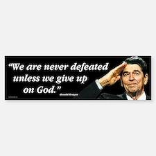 Reagan - We Are Never Defeated... Sticker (Bumper)