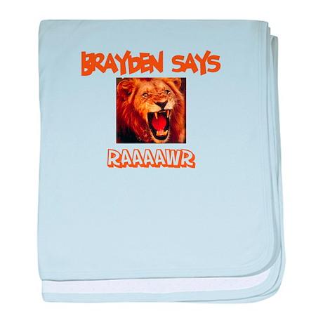 Brayden Says Raaawr (Lion) baby blanket