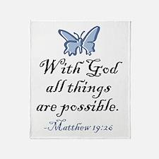 Matthew 19:26 Throw Blanket