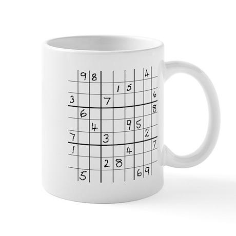 Mug featuring solvable intermediate Sudoku puzzle